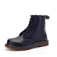 STRONGSHEN Brand Men's Boots Dr. Martens Leather Winter Warm Shoes Motorcycle Mens Ankle Boot Doc Martins Fur Men Oxfords Shoe