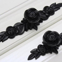 Black Rose Knobs Flower  Pulls Handles/ unique cabinet pulls /  Drawer Pull Handles Dresser Pulls Handles  Hardware Kitchen  K01