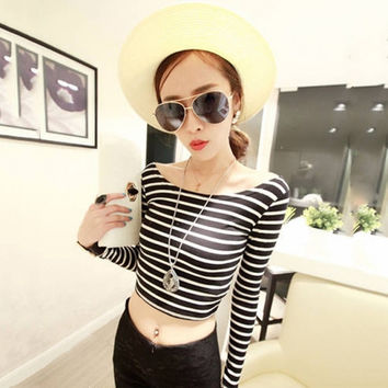 New Sexy Women T-shirt Boat Neck Crop Striped Long Sleeve Slim Blouse Tops T Shirt