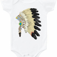 Native American Headdress graphic tee shirt baby bodysuit Onesuit tribal feather unixex girl's boys boho Indian clothes gypsy hippie top