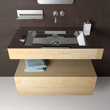 """Novanta 36"""" Wall Bath Vanity With Rectangular Sink, Steel top and Maple Solid Wood - One Drawer Cabinet Included"""