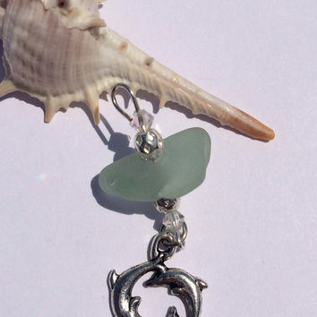 Dolphins under the water Genuine aqua sea glass dolphin circles charm Galveston Texas, Beach found glass, beach glass art