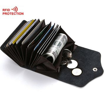 Rfid Card Holder Leather Rfid Wallet Protection Credit Card Holder Travel Wallet with Coin Pocket Unisex Coin Purse
