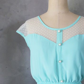 PETIT DEJEUNER  Seafoam teal aqua dress with by FleetCollection