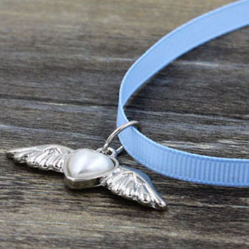 Blue Winged Heart Drop Strap Choker Necklace