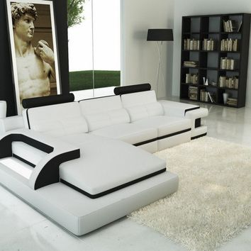 Divani Casa 6122B Modern White and Black Bonded Leather Sectional Sofa
