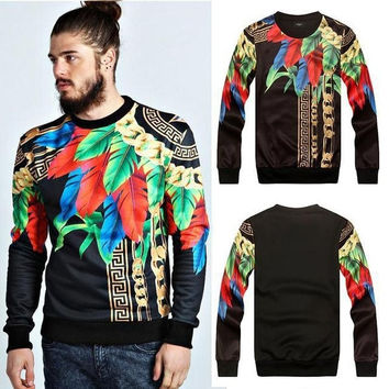 New fashion 2014 mens sweatshirt printed floral chain stylish pullover hoodies long sleeve tops for autumn hip hop sweat shirts = 1932268036