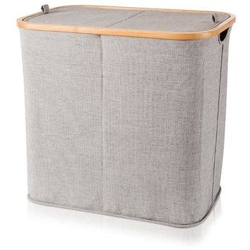 Double Laundry Hamper Basket Bamboo With Canvas Gray With Lid