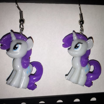 Squishy Pops Earrings - My Little Pony Rarity - made from re-purposed toys