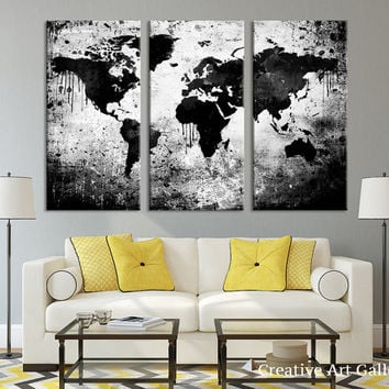 Large Triptych Art Black White World Map Canvas Print, Large World Map Wall  Art,
