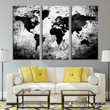 Large Triptych Art Black White World Map Canvas Print, Large World Map Wall Art, Splatter World Map Canvas Print, Retro World Map Wall Art