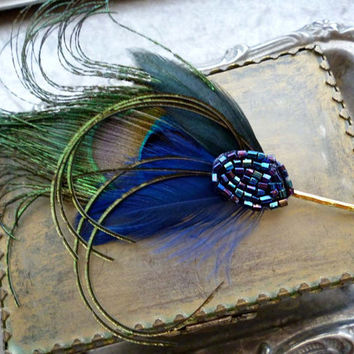Blue Vintage Feather Pin - Art Deco Beaded Fascinator Hair Headpiece