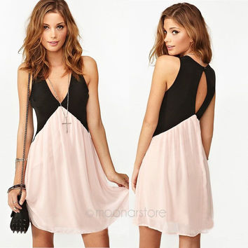 2015 Sexy Dresses Deep V-neck Hollow Back Chiffon Stitching Vest Casual Dress Cocktail *35
