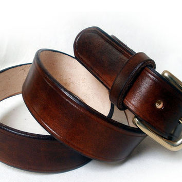 "Men's leather belt, 1 1/4"" wide, brown, solid brass buckle, brown leather belt"