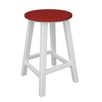 2 Bar Stools - Candy Apple Red Seat And White Legs