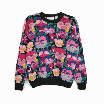 Vintage 90s Hand Knitted Floral Sweater / Tacky Sweater