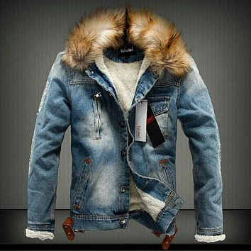 2016 denim winter wadded jacket men slim thickening cotton jacket fur collar outerwear male cotton-padded jacket winter coat
