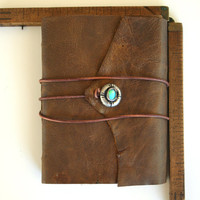 Bronze Leather Journal, Sterling Silver Opal Inlay, Tea Stained, Blue and Brown Papers Handbound Writing or Art Journal Diary