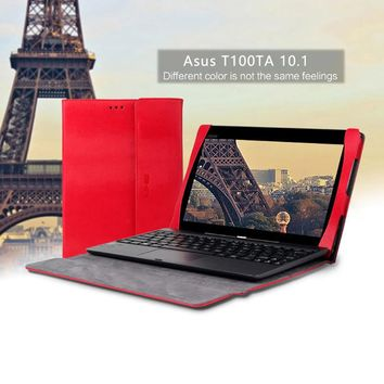 Premium PU Leather Keyboard Portfolio Stand Tablet Cover Case For ASUS Transformer Book T100 T100T T100TA 10.1inch Laptop Case