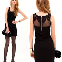 Sexy Womens Joining Together Dress with Lace Black Scoop Neck and Slim Dress