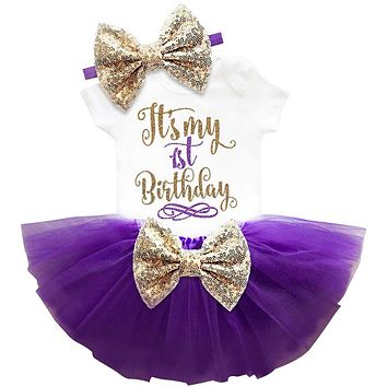 Newborn Baby Girl Clothing Summer Sequin Bow Tutu Dress (Tops+Headband+Dress) 3pcs Clothes Bebes First Birthday Party Costumes