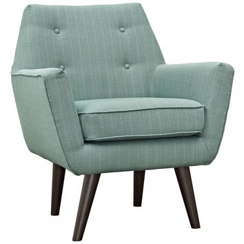 Modway Posit Armchair in Tufted Laguna Fabric on Espresso Finish Legs