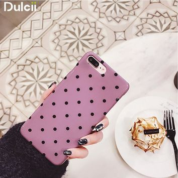Dulcii For Apple iPhone 8 Plus Case Chic Polka Dots Glossy TPU Case Cover for iPhone 6s 6 Plus / 7 Plus - Pink