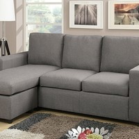 2 pc Jasmine collection light gray linen like fabric upholstered reversible chaise sectional sofa with square arms