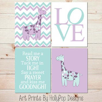 Girl Nursery Decor Baby Girl Wall Art Giraffe Nursery Art Lavender Purple Mint Chevron Modern Nursery Quad Art Prints Read Me A Story #0693