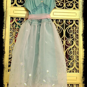 Sale... revived  dusty turquoise white & ballerina pink embroidered organza cupcake  tulle prom dress Mermaid Miss K