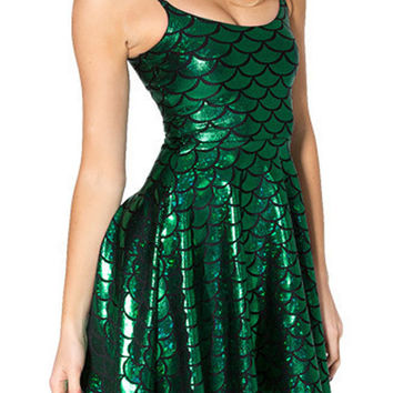 Sexy Glossy Green Fish Scale Mermaid Print Slip Dress