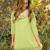 Long Sleeve Knit Dress with Lace Trim