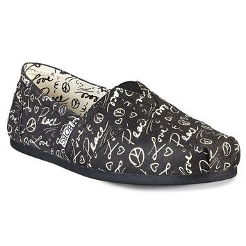 Skechers BOBS Plush True Colors Women's ''Love & Peace'' Slip-On Flats (Black)