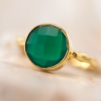 Green Onyx Ring Solitaire Stone Ring, Green Stone Ring