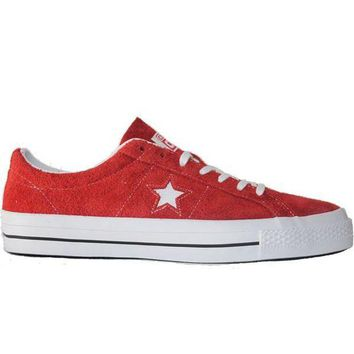 VONES2C Converse One Star Ox - Red/White Suede Oxford Sneaker