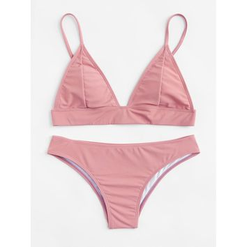 Women's Pink Triangle Top Two Piece Swimsuit Bikini Set with Adjustable Straps