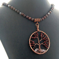Tree of Life Summer Garnet Natural Stone Necklace