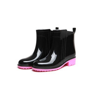 Winter Fashion Adult Rain Boots Female Simple Candy Color Rain Shoes Women Anti-skid Low Heel Waterproof Shoes Lady Ankle Boots