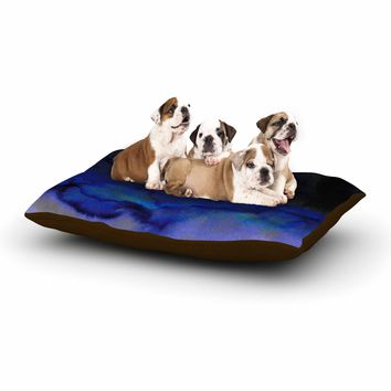 "Ebi Emporium ""SATURATION POINT, BLUE"" Blue Black Abstract Modern Painting Mixed Media Dog Bed"