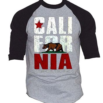 California Republic Classic Baseball T-Shirt Black/Gray Men's S-3XL