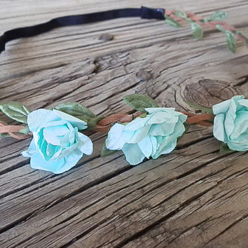 Aqua Flower Crown, Boho flower headband, White flower rose- festival flower hair band, wedding headband