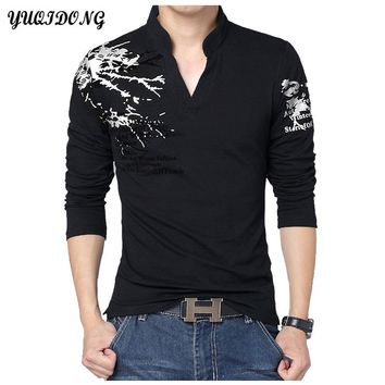 Polo Shirts Men'S Hot Men Slim Collar Solid Color Stand Up Long-Sleeved POLO Shirt Fashion Business Leisure  Brand Male Clothes