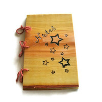 Star Pattern Notebook - Journal Wood Burnt - READY TO SHIP