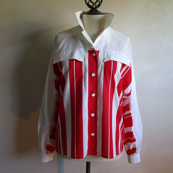 Vintage Broadcloth Striped 60s Shirt Red White Stripe Dolman Casual Summer 1960s Cotton Blend Womens Top LRG