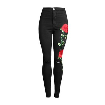 Embroidery Floral Ripped Jeans
