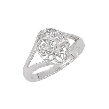 Vintage Style Sterling Silver .025 Ct G-H, I2  Diamond Oval Ring