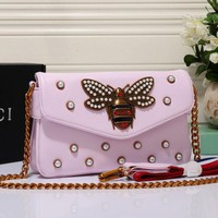 Gucci Bee Bag Women Leather Metal Chain Shoulder Bag Satchel Cross body Pink