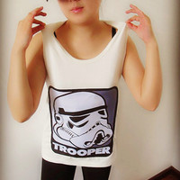 Star Wars Storm Trooper Portrait Shirt Crop Top Tank Tops T Shirt , Women Sexy Hipster Shirt , Custom Photo Tunic Shirt