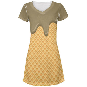 Melting Chocolate Ice Cream Cone All Over Juniors Beach Cover-Up Dress