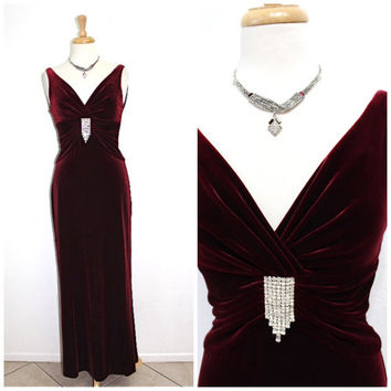 1980s Burgundy Velvet Dress Sweetheart Rhinestone Niteline Maxi Dress Prom Holiday Party Dress